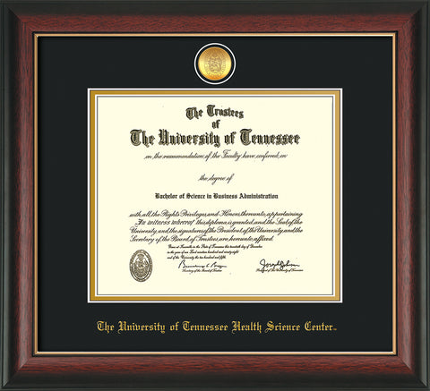 Image of University of Tennessee Health Science Center Diploma Frame - Rosewood w/Gold Lip - w/24K Gold Plated Medallion & UTHSC Name - Black on Gold Mat