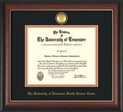 Image of University of Tennessee Health Science Center Diploma Frame - Rosewood w/Gold Lip - w/24K Gold Plated Medallion & UTHSC Name - Black on Orange Mat