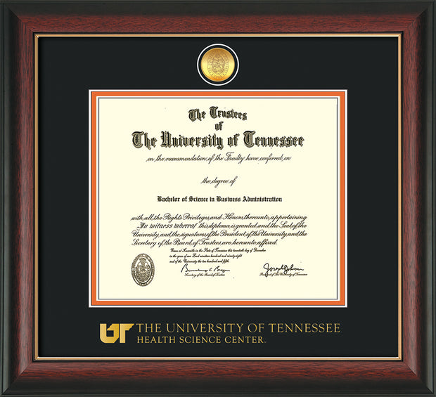 Image of University of Tennessee Health Science Center Diploma Frame - Rosewood w/Gold Lip - w/24K Gold Plated Medallion & UTHSC Wordmark - Black on Orange Mat