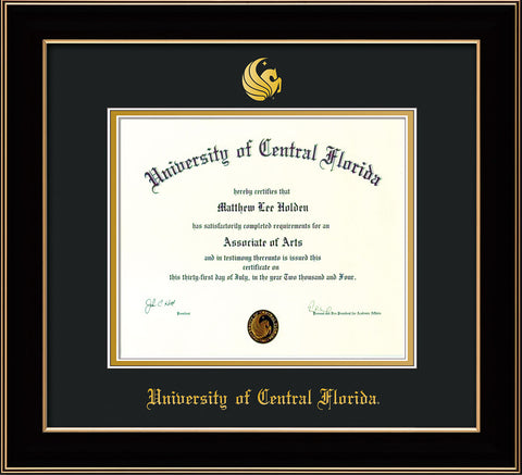 Image of University of Central Florida Diploma Frame - Black Lacquer - w/Embossed UCF Seal & Name - Black on Gold mat
