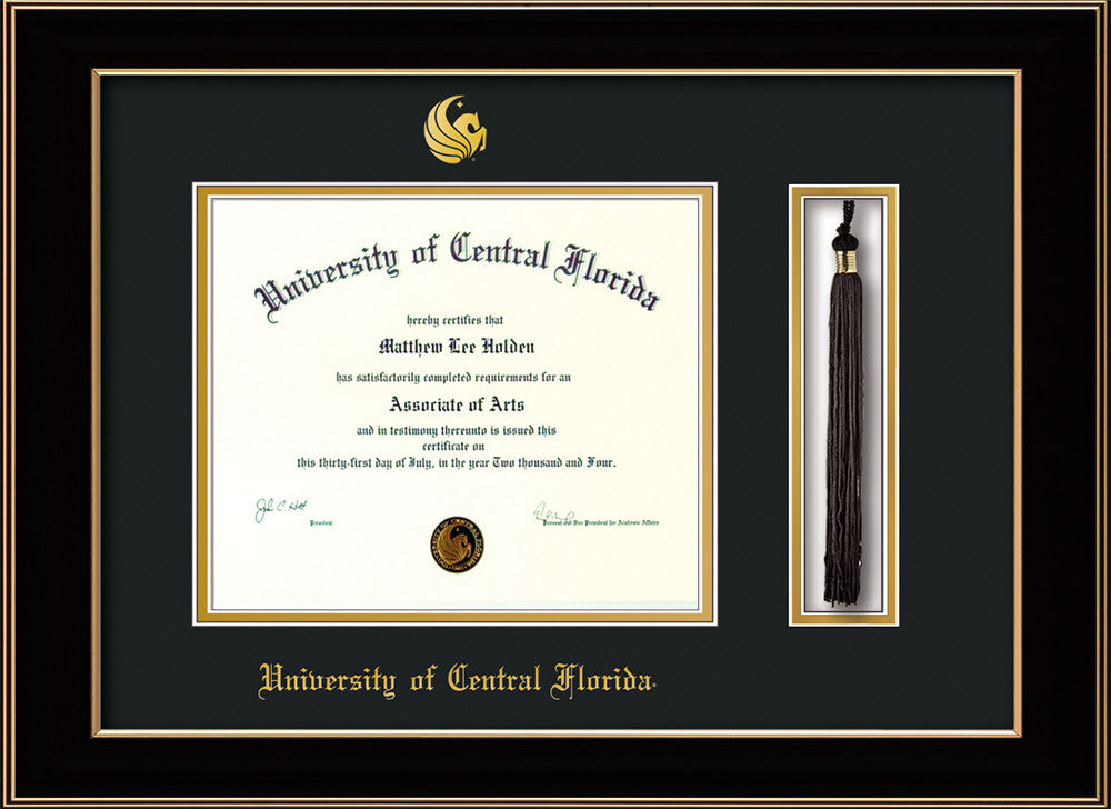 Univ. of Central Florida Diploma Frame-Black Lacquer-Tassel-Black ...