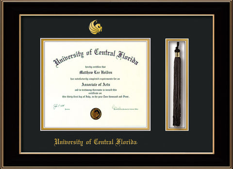 Image of University of Central Florida Diploma Frame - Black Lacquer - w/Embossed UCF Seal & Name - Tassel Holder - Black on Gold mat