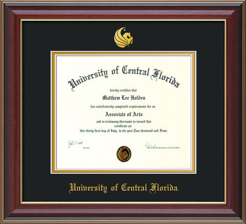 Image of University of Central Florida Diploma Frame - Cherry Lacquer - w/Embossed UCF Seal & Name - Black on Gold mat