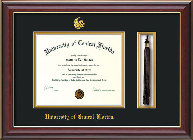 Image of University of Central Florida Diploma Frame - Cherry Lacquer - w/Embossed UCF Seal & Name - Tassel Holder - Black on Gold mat