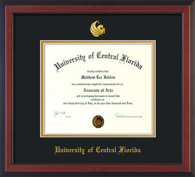 Image of University of Central Florida Diploma Frame - Cherry Reverse - w/Embossed UCF Seal & Name - Black on Gold mat