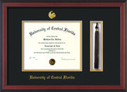 Image of University of Central Florida Diploma Frame - Cherry Reverse - w/Embossed UCF Seal & Name - Tassel Holder - Black on Gold mat