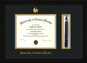 Image of University of Central Florida Diploma Frame - Flat Matte Black - w/Embossed UCF Seal & Name - Tassel Holder - Black on Gold mat