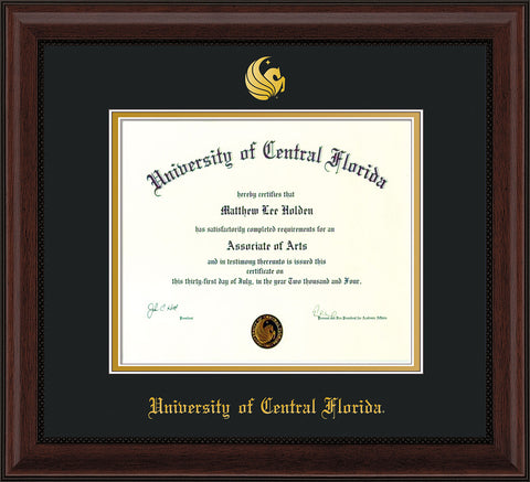 Image of University of Central Florida Diploma Frame - Mahogany Bead - w/Embossed UCF Seal & Name - Black on Gold mat