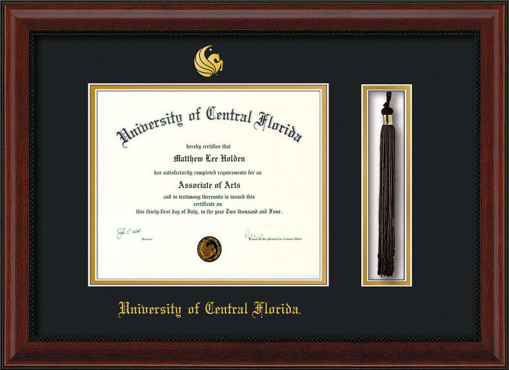 Univ. of Central Florida Diploma Frame-Mahogany Bead-Tassel-Black ...