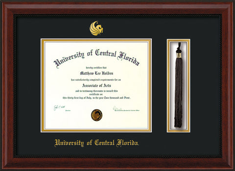 Image of University of Central Florida Diploma Frame - Mahogany Bead - w/Embossed UCF Seal & Name - Tassel Holder - Black on Gold mat