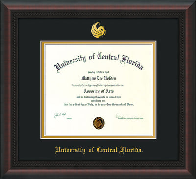 Image of University of Central Florida Diploma Frame - Mahogany Braid - w/Embossed UCF Seal & Name - Black on Gold mat