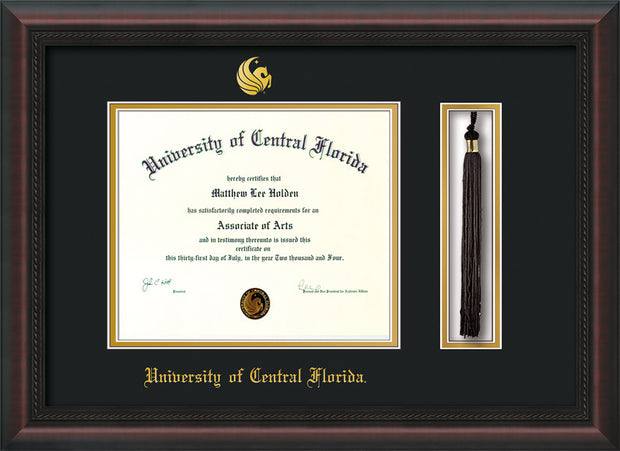 Image of University of Central Florida Diploma Frame - Mahogany Braid - w/Embossed UCF Seal & Name - Tassel Holder - Black on Gold mat