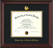 Image of University of Central Florida Diploma Frame - Mahogany Lacquer - w/Embossed UCF Seal & Name - Black on Gold mat