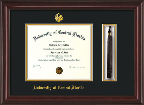 Image of University of Central Florida Diploma Frame - Mahogany Lacquer - w/Embossed UCF Seal & Name - Tassel Holder - Black on Gold mat
