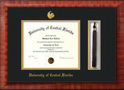 Image of University of Central Florida Diploma Frame - Mezzo Gloss - w/Embossed UCF Seal & Name - Tassel Holder - Black on Gold mat
