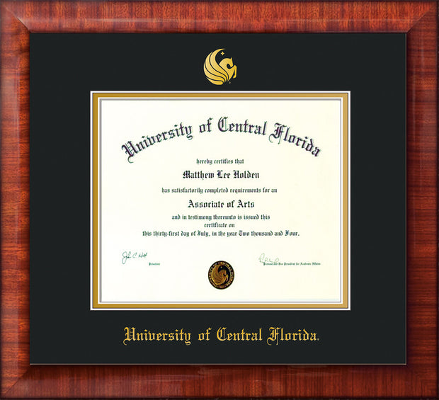 Image of University of Central Florida Diploma Frame - Mezzo Gloss - w/Embossed UCF Seal & Name - Black on Gold mat