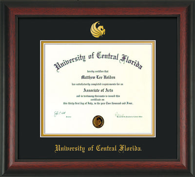 Image of University of Central Florida Diploma Frame - Rosewood - w/Embossed UCF Seal & Name - Black on Gold mat