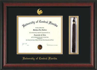 Image of University of Central Florida Diploma Frame - Rosewood - w/Embossed UCF Seal & Name - Tassel Holder - Black on Gold mat