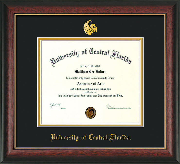 Image of University of Central Florida Diploma Frame - Rosewood w/Gold Lip - w/Embossed UCF Seal & Name - Black on Gold mat