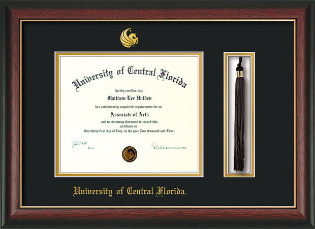Image of University of Central Florida Diploma Frame - Rosewood w/Gold Lip - w/Embossed UCF Seal & Name - Tassel Holder - Black on Gold mat