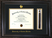Image of University of Central Florida Diploma Frame - Vintage Black Scoop - w/Embossed UCF Seal & Name - Tassel Holder - Black on Gold mat