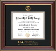 Image of University of North Georgia Diploma Frame - Cherry Lacquer - w/Embossed Military Seal & Military Wordmark - Black on Gold mat