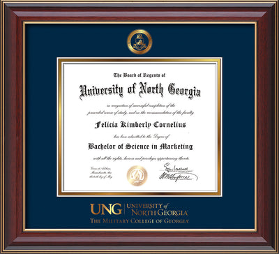 Image of University of North Georgia Diploma Frame - Cherry Lacquer - w/Embossed Military Seal & Military Wordmark - Navy on Gold mat
