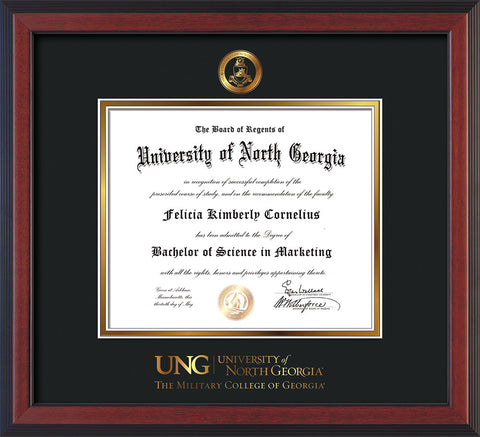 Image of University of North Georgia Diploma Frame - Cherry Reverse - w/Embossed Military Seal & Military Wordmark - Black on Gold mat