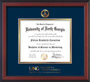 Image of University of North Georgia Diploma Frame - Cherry Reverse - w/Embossed Military Seal & Military Wordmark - Navy on Gold mat