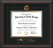 Image of University of North Georgia Diploma Frame - Mahogany Braid - w/Embossed Military Seal & Military Wordmark - Black on Gold mat