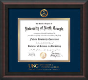 Image of University of North Georgia Diploma Frame - Mahogany Braid - w/Embossed Military Seal & Military Wordmark - Navy on Gold mat