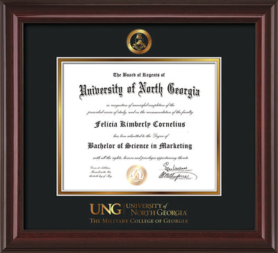 Image of University of North Georgia Diploma Frame - Mahogany Lacquer - w/Embossed Military Seal & Military Wordmark - Black on Gold mat