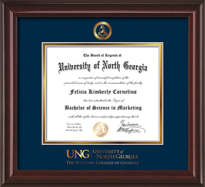 Image of University of North Georgia Diploma Frame - Mahogany Lacquer - w/Embossed Military Seal & Military Wordmark - Navy on Gold mat