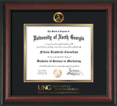 Image of University of North Georgia Diploma Frame - Rosewood - w/Embossed Military Seal & Military Wordmark - Black on Gold mat