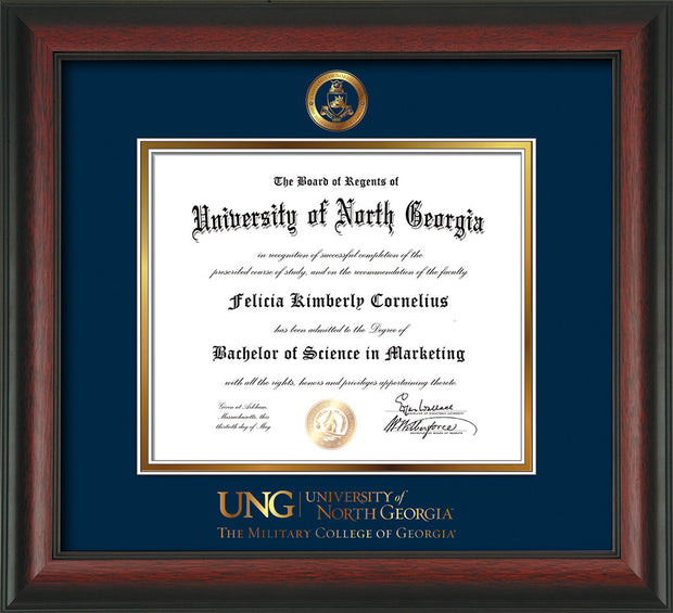 Image of University of North Georgia Diploma Frame - Rosewood - w/Embossed Military Seal & Military Wordmark - Navy on Gold mat