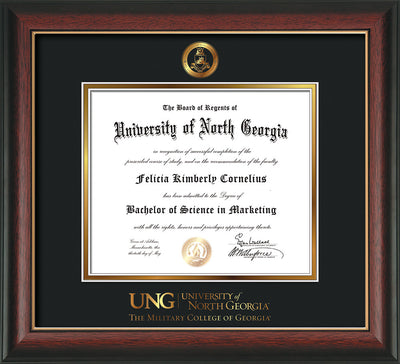 Image of University of North Georgia Diploma Frame - Rosewood w/Gold Lip - w/Embossed Military Seal & Military Wordmark - Black on Gold mat