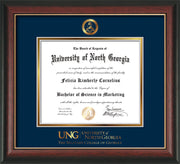 Image of University of North Georgia Diploma Frame - Rosewood w/Gold Lip - w/Embossed Military Seal & Military Wordmark - Navy on Gold mat