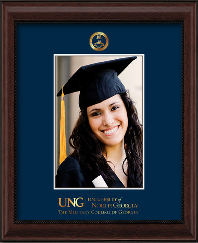 Image of University of North Georgia 5 x 7 Photo Frame - Mahogany Bead - w/Official Embossing of Military Seal & Military Wordmark - Single Navy mat