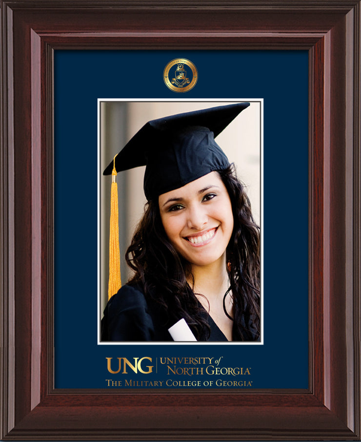 Image of University of North Georgia 5 x 7 Photo Frame - Mahogany Lacquer - w/Official Embossing of Military Seal & Military Wordmark - Single Navy mat
