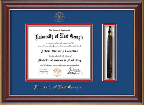 Image of University of West Georgia Diploma Frame - Cherry Lacquer - w/UWG Embossed Seal & Name - Tassel Holder - Royal Blue on Crimson mat