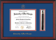 Image of University of West Georgia Diploma Frame - Cherry Reverse - w/UWG Embossed Seal & Name - Tassel Holder - Royal Blue on Crimson mat