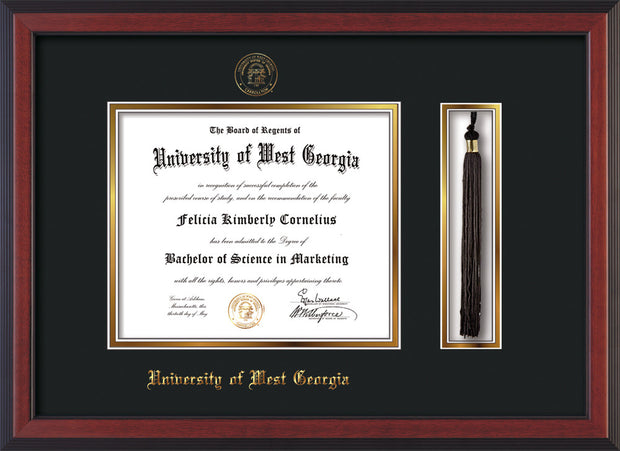 Image of University of West Georgia Diploma Frame - Cherry Reverse - w/UWG Embossed Seal & Name - Tassel Holder - Black on Gold mat