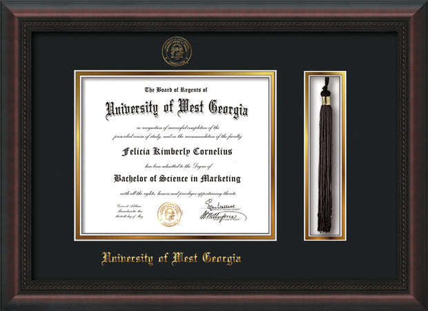 Image of University of West Georgia Diploma Frame - Mahogany Braid - w/UWG Embossed Seal & Name - Tassel Holder - Black on Gold mat