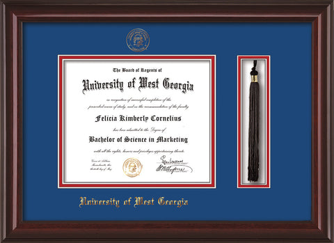 Image of University of West Georgia Diploma Frame - Mahogany Lacquer - w/UWG Embossed Seal & Name - Tassel Holder - Royal Blue on Crimson mat