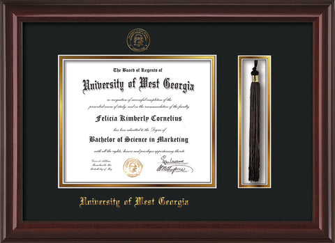Image of University of West Georgia Diploma Frame - Mahogany Lacquer - w/UWG Embossed Seal & Name - Tassel Holder - Black on Gold mat