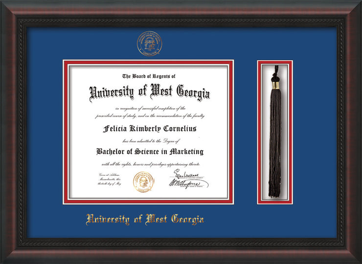 Image of University of West Georgia Diploma Frame - Mahogany Braid - w/UWG Embossed Seal & Name - Tassel Holder - Royal Blue on Crimson mat