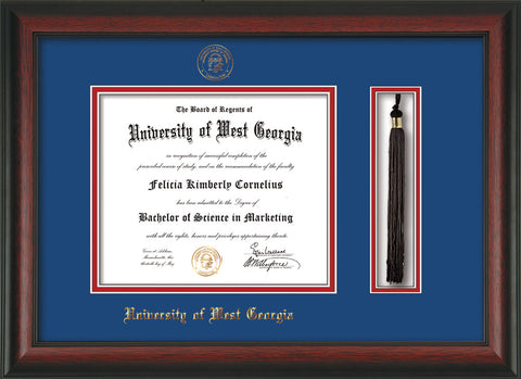 Image of University of West Georgia Diploma Frame - Rosewood - w/UWG Embossed Seal & Name - Tassel Holder - Royal Blue on Crimson mat