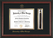 Image of University of West Georgia Diploma Frame - Rosewood - w/UWG Embossed Seal & Name - Tassel Holder - Black on Gold mat