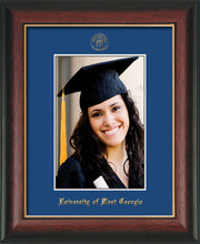 Image of University of West Georgia 5 x 7 Photo Frame - Rosewood w/Gold Lip - w/Official Embossing of UWG Seal & Name - Single Royal Blue mat