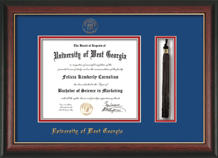 Image of University of West Georgia Diploma Frame - Rosewood w/Gold Lip - w/UWG Embossed Seal & Name - Tassel Holder - Royal Blue on Crimson mat